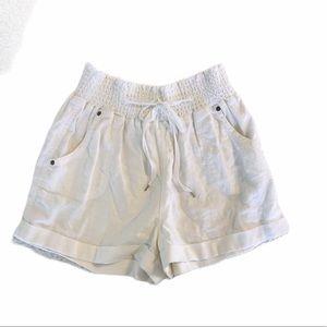 🌸Fashion Nova White Linen High Waist Shorts M